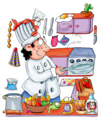 cook, shrimp, restaurant, character,
