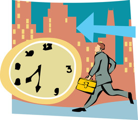 Running businessman by clock and arrow sign