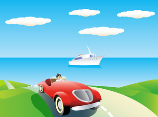 Recess Fitting Cars Coastal landscape with car and yacht.