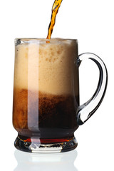 Glass of dark beer, isolated.