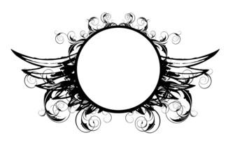 Grunge Symbol Wings Logo