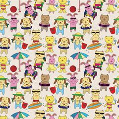summer animal seamless pattern