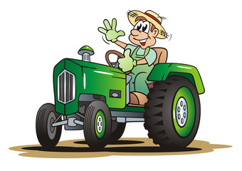 Farmer with Green Tractor