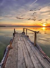 Fotorolgordijn Pier el embarcadero de madera