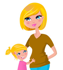 Cute blond mother and daughter isolated on white. Vector
