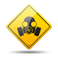 Señal amarilla simbolo mascara proteccion