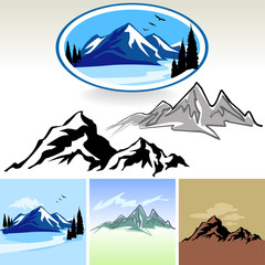 Mountain And Hills ICONs - Editable And Layered Vector