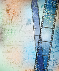 grungy background with damaged filmstrips. eps10 vector