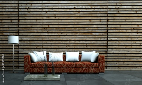 Rotes Sofa Cor Holzwand Mit Weissen Kissen Stock Photo And Royalty