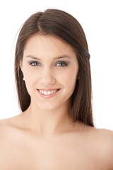 Fresh young woman smiling happily