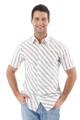 Happy man in summer shirt