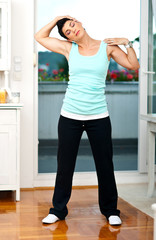 woman exercise in her home