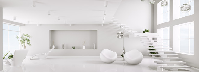 Weiss interior mit treppe panorama 3d render Fototapete