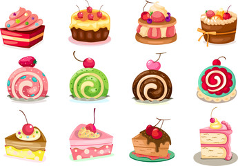 Set of pieces of cake