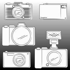 the pencil sketch of DSLR and Camera