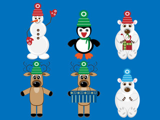 Set of funny animals and snowman