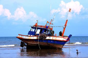 The ship runs ashore