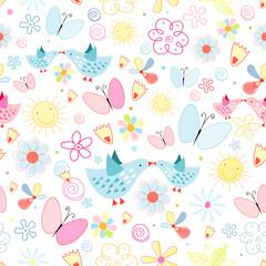 texture of flowers butterflies and birds