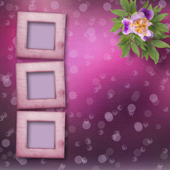 Old newspaper background with frame and bunch of flower