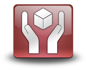 """Red 3D Effect Icon """"Handle With Care"""""""