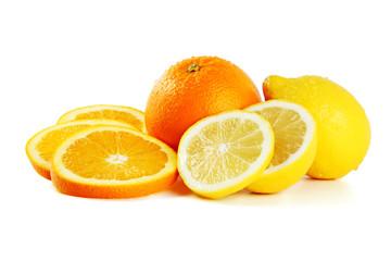 Tuinposter Plakjes fruit Orange und Zitrone mit Scheiben