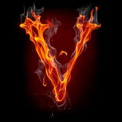 Tuinposter Vlam Fire font. Letter V.
