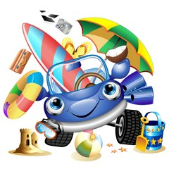 Auto Cartoon Vacanze e Viaggi-Cartoon Car Beach Holidays-Vector