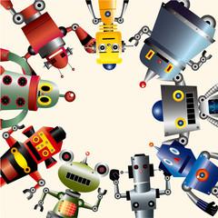 Spoed Foto op Canvas Robots robot card.