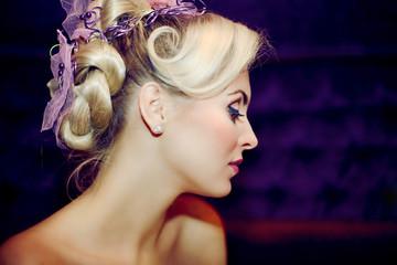 Beautiful girl with a wedding hairdo