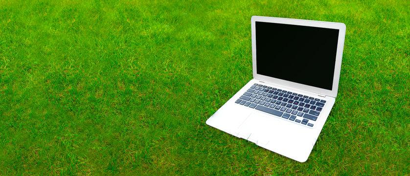 Laptop on grass
