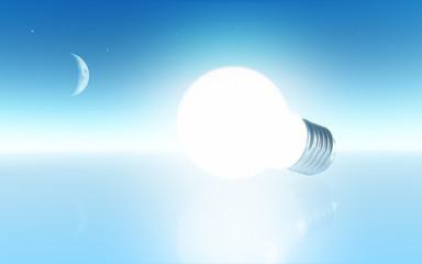 Light bulb and moon