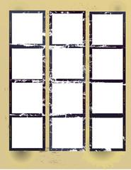Wall Mural - grungy printed contact sheet medium format with blank frames,vec