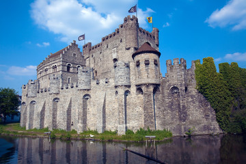 The Gravensteen, medieval castle, Ghent, Belgium