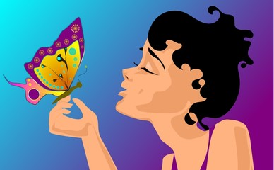 Ilustracja kobiety z motylem.
