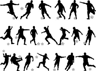 big collection of soccer players vector