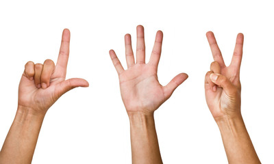 Human hands on a white background. Different variants