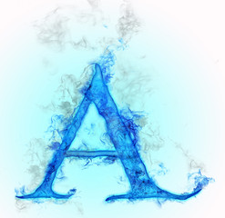 Letter A in blue ink design