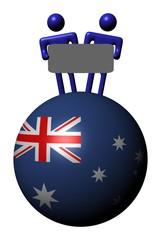 people holding sign on Australian flag sphere illustration