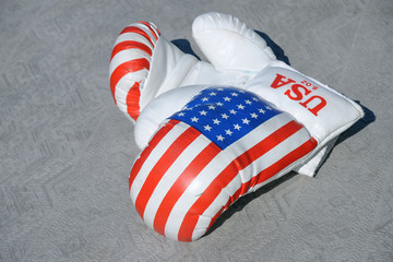 Boxing Gloves Against Gray Background