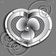 Metallic heart  with a fan and springs.