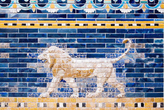 Detail of a Lion on a Babylonian city wall