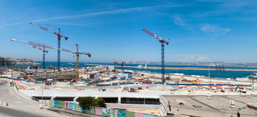 Big construction in port of Marseille, France
