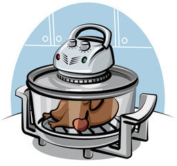 electric grill with roasted chicken