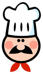 Chef Man Face Cartoon Mascot