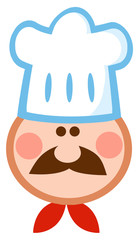 Cartoon Chef Man Face Mascot