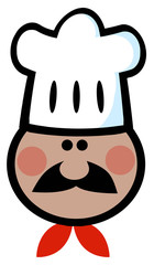 African American Chef Man Face Cartoon Mascot