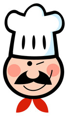 Winked Chef Man Face Cartoon Mascot