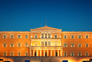 Greek Parliament in Athens at night