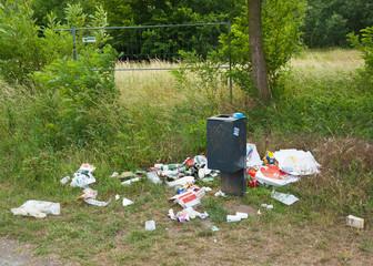 Müll liegt verteilt in der Landschaft