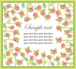 Decorative framework. Greeting card with roses.